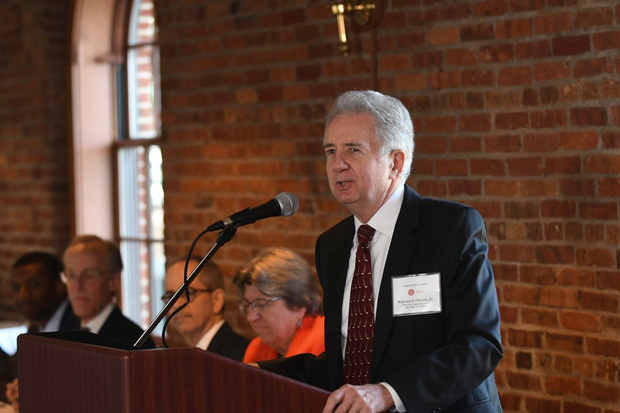 Warren Oliveri, president of the Maryland Legal Aid Board of Directors, delivers remarks to guests during the 22nd annual Equal Justice Awards Breakfast. (Photo by Eric Stocklin)
