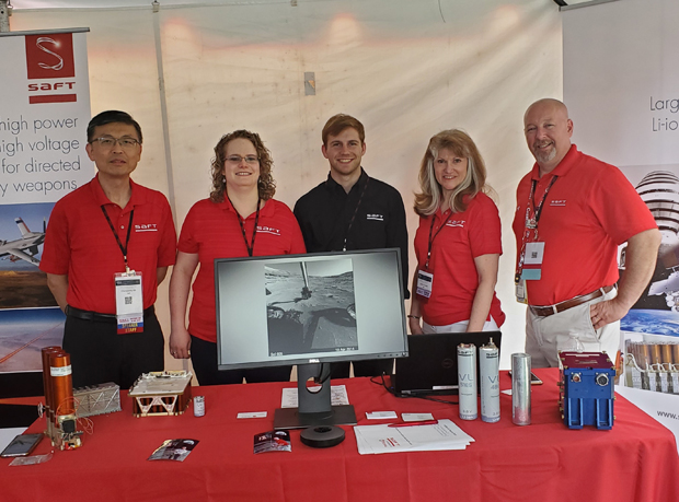 From left, Saft staff members Dr. Chengsong Ma, Sarah Rickman-Yapp, Jim Nicholas, Lynne Cannon and Dave Strzegowski provided information from Saft's U.S. Space & Defense Division during Industry Day. (Photo courtesy of Saft Cockeysville)