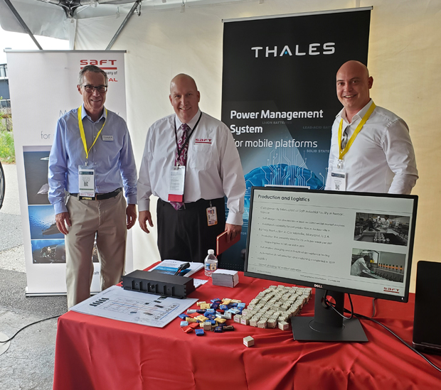 Alex Bynum, center, director of sales for Saft's U.S. Space & Defense Division, partners with Thales representatives Daniel Wetter, left, and Daniel Seiler on an information presentation during Saft's Industry Day. Thales is a provider of high-tech solutions and services in transportation and defense markets, satellite and space technology as well as in the field of personalization and production of polycarbonate documents and identity cards. (Photo courtesy of Saft Cockeysville)