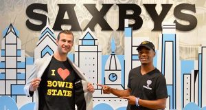 Saxbys' founder and CEO Nick Bayer with Devin Gallion, a rising senior at Bowie State who will be the first Student Care Executive Officer. Gallion, a Baltimore native, is a business administration major. (Submitted photo)