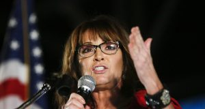"FILE - In this Sept. 21, 2017, file photo, former vice presidential candidate Sarah Palin speaks at a rally in Montgomery, Ala.  An appeals court has revived a defamation lawsuit Palin brought against The New York Times. The 2nd U.S. Circuit Court of Appeals restored the lawsuit Tuesday, Aug. 6, 2019, saying Palin must be allowed to collect evidence to support her claims. Still, it said Palin's burden of proof was high to show the Times acted with actual malice when it published an editorial titled ""America's Lethal Politics"" in 2017. (AP Photo/Brynn Anderson, File)"