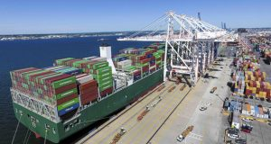 Among the nation's ports, the Port of Baltimore ranks first for autos and light trucks, roll on/roll off heavy farm and construction machinery, imported sugar and imported gypsum. It ranks 11th among major U.S. ports for cargo handled and ninth nationally for total cargo value.  (Port of Baltimore photo)