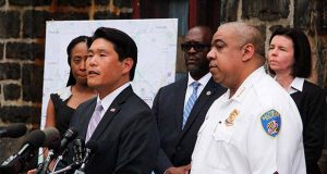 U.S. Attorney Robert K. Hur, left, and Baltimore Police Commissioner Michael Harrison at a Thursday news conference to tout federal indictments of 90 people accused of drug and violent crimes in Baltimore. (The Daily Record/Adam Bednar)