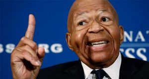 "Rep. Elijah Cummings, D-Md., speaks during a luncheon at the National Press Club in Washington, Wednesday, Aug. 7, 2019. Cummings says government officials must stop making ""hateful, incendiary comments'' that only to serve to divide and distract the nation from its real problems, including mass shootings and white supremacy. (AP Photo/Patrick Semansky)"
