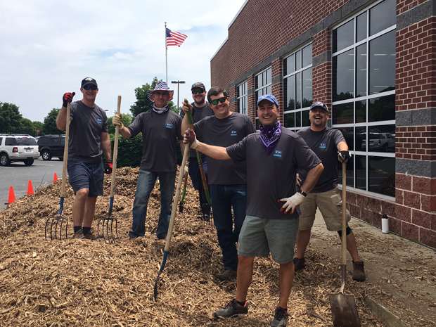From left, Chris Rossi, a principal in Technology Advisory Services; Richard Ferrara, a manager in Information Technology Advisory; Dave Unger, tax manager; Ryan Frank, personal financial planning expert; Tyson Gischel, sales manager; and Garrett Datz, a manager in Technology Advisory Services, take a break for a photo while volunteering at the Boys and Girls Club. (Photo courtesy of SC&H Group)