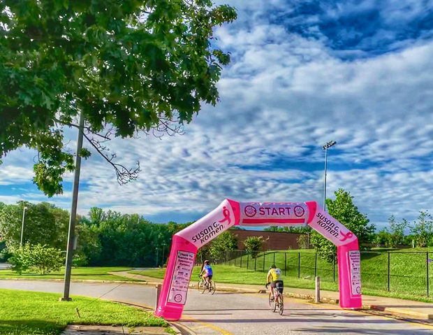 Cyclists take off at the start of the fourth annual Susan G. Komen Maryland Promise Ride at South River High School in Edgewater. (Photo courtesy of Ballard Spahr)