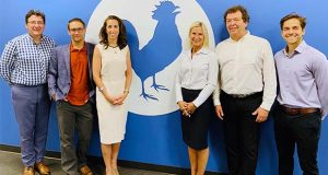 RoosterBio has raised about $15 million so far in a series B financing round led by Dynamk Capital. Picture are, from left, Dr. Gustavo Mahler, venture partner, Dynamk Capital; Dr. John A. Rowley, Founder & CPO, RoosterBio; Daniella Kranjac, founding partner, Dynamk Capital; Margot Connor, CEO, RoosterBio; Reinhard Vogt, managing partner, Dynamk Capital; Sebastien Latapie, senior venture associate, Dynamk Capital