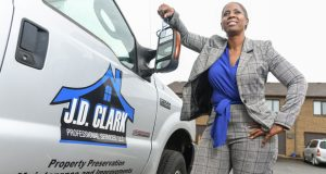 Tisa J.D. Clark started her own construction and maintenance company.  She opened J.D. Clark Professional Services  in Upper Marlboro, the Prince George's County community she calls home. (Contributing photographer/Maximilian Franz)