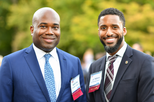 2019 VIP List winners Davion Percy, left, Alexander & Cleaver, PA, and Ryan Middleton, with the Office of the Prince George's County Executive. (Photo by Maximilian Franz)