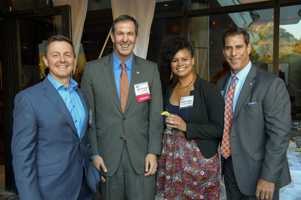 2019 VIP List winner Baltimore County Executive John Olszewski Jr., second from left, stands with Will Anderson, of the Baltimore County Department of Economic and Workforce Development; Nicholle Granger, of MD Strategic Consulting; and Paul Isenberg, of Bringing Hope Home. (Photo by Maximilian Franz)