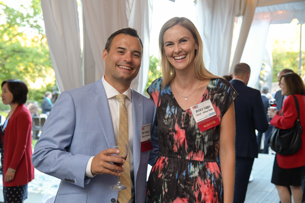 2019 VIP List winners Robert Titelman Jr., of Skylight Creative Ideas, and Jessica Gappa, Comcast, pose for a photo during the event. (Photo by Maximilian Franz)