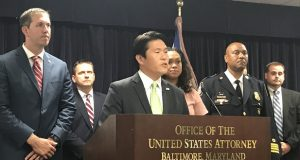 U.S. Attorney for Maryland Robert K. Hur announces Wednesday that Baltimore County has agreed to serve as a fiduciary for federal funds flowing to a strike force fighting violent crime in Baltimore. (The Daily Record/Adam Bednar)