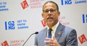 Rep. Anthony Brown speaks Monday, Sept. 16, 2019, at MGM National Harbor. (The Daily Record/Bryan P. Sears)