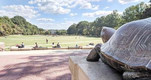 Testudo overlooks McKeldin Mall at the University of Maryland in College Park. (The Daily Record / Tim Curtis)