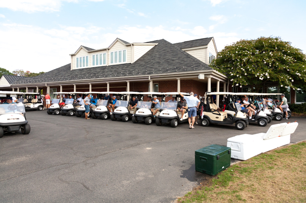 Participants prepare for the shotgun start at Chartwell Golf & Country Club in Severna Park for the second annual Bob Bell Automotive Charity Golf Tournament. (Photo by Kevin Scrimgeour)