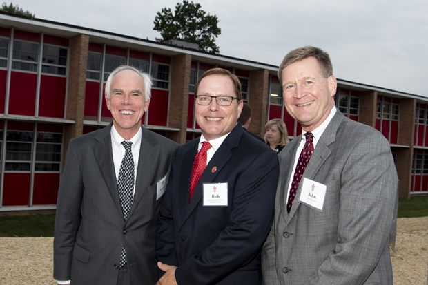 From left, Frank K. Turner Jr., chief commercial banking officer and executive vice president, Howard Bank; Richard F. Huebler, a member with KSI Professional LLC; and John Wasowicz, relationship manager and senior vice president with Howard Bank, gather for a photo. (Photo by Larry Canner Photography)