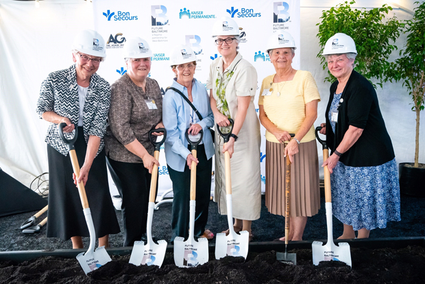 The Community Bon Secours Sisters stand together to break ground on new community center. From left are Sisters Rosie Jasinski, Fran Gorsuch, Alice Talone, Pat Dowling, Mary Shimo and Anne Lutz. (Photo courtesy of Future Baltimore)