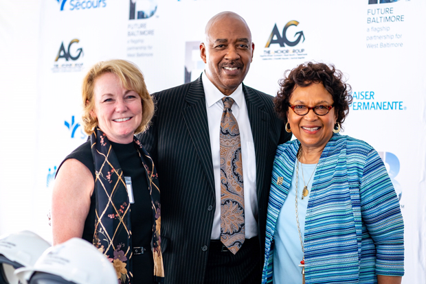 From left, Kim Horn, regional president of Kaiser Permanente; Dr. Samuel Ross, chief community health officer with Bon Secours Mercy Health; and Alma Roberts, senior program manager with Kaiser Permanente, were on hand for the groundbreaking ceremony for Future Baltimore's new community resource center. (Photo courtesy of Future Baltimore)