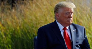 President Donald Trump attends a ceremony in observance of the 18th anniversary of the September 11th attacks at the Pentagon in Washington, Wednesday, Sept. 11, 2019. (AP Photo/Patrick Semansky)
