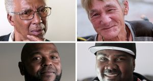 Four exonerees, clockwise from top left: Walter Lomax, Hubert James Williams, Lamar Johnson and Clarence Shipley.  MUST CREDIT: Washington Post photo by Bonnie Jo Mount