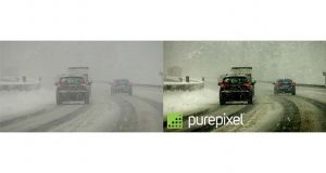 This composite image depict's Digital Harmonic's PurePixel enhancement (right) of vehicles driving in snowfall. (Business Wire)