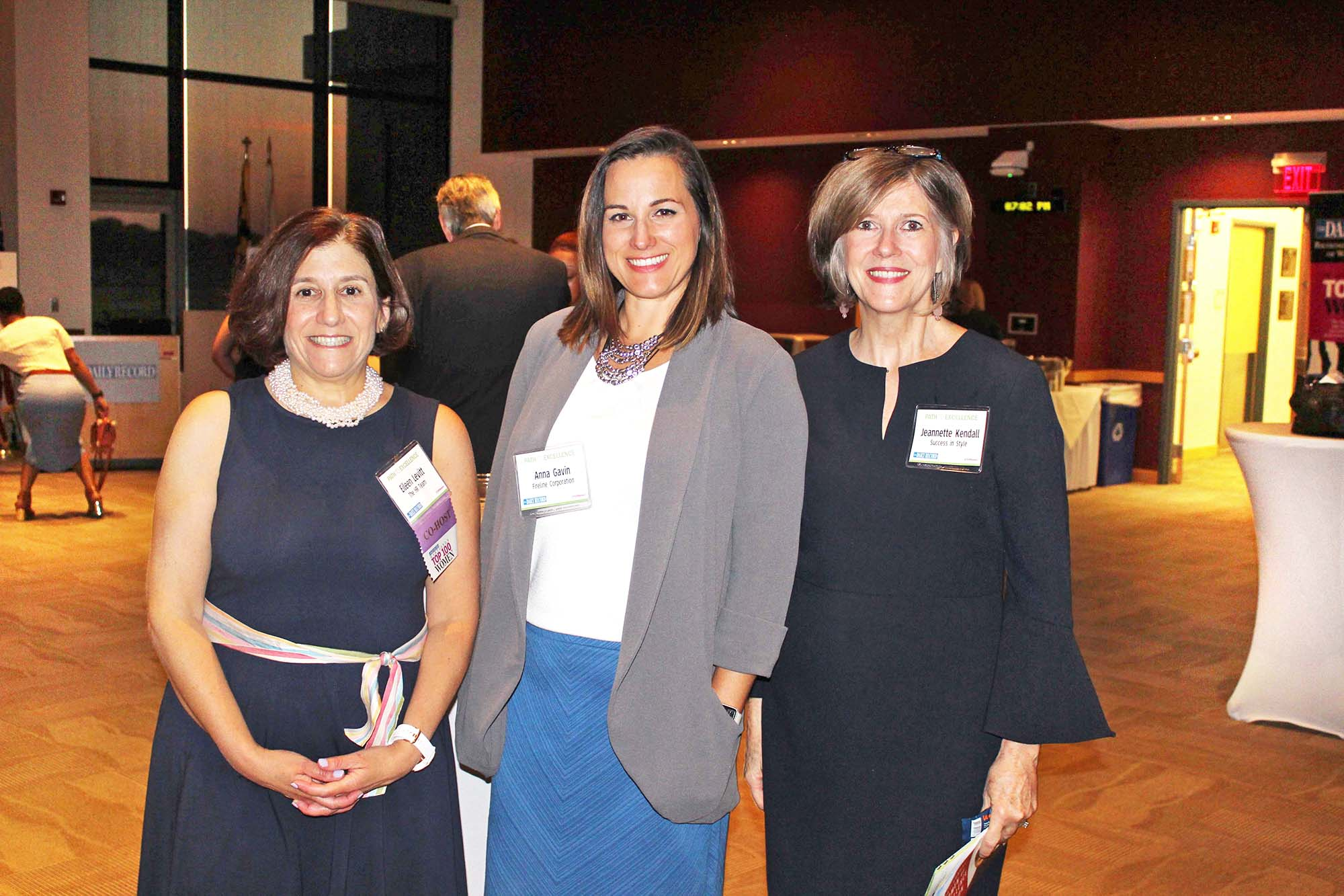 From left, event co-host and Top 100 Women winner Eileen Levitt, The HR Team; Anna Gavin, Fireline Corporation; and Jeannette Kendall, Success in Style, visit during the networking event. (Photo by Patrick Brannan)