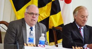 Gov. Larry Hogan, left, and Comptroller Peter Franchot. (The Daily Record / Bryan P. Sears)
