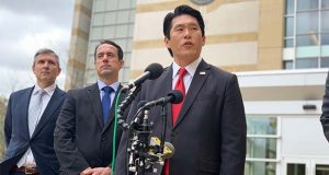U.S. Attorney Bob Hur speaks on Thursday, Oct. 17, 2019 outside the U.S. District Courthouse in Greenbelt. (The Daily Record / Bryan P. Sears)