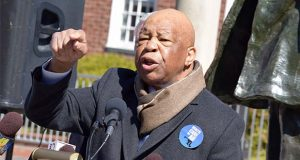 U.S. Rep. Elijah Cummings speaks in 2017 at a health care rally outside the state House during the legislative session. (The Daily Record / Bryan P. Sears)