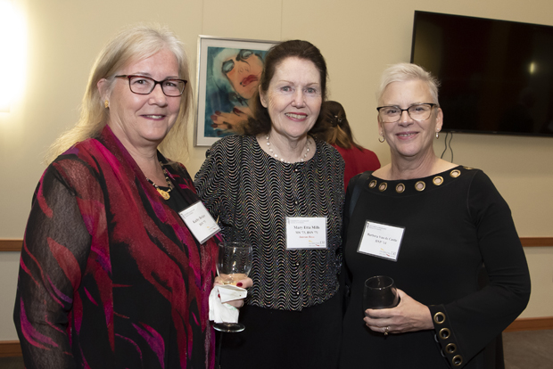 From left, University of Maryland School of Nursing colleagues Kathy Becker, BSN; Mary Etta C. Mills, ScD, RN, NEA-BC, FAAN, professor; and Barbara Van de Castle, DNP, ACNS, OCN, RN-BC, assistant professor, take time for a photo. (Photo by Larry Canner)