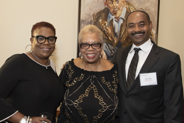 From left, Sharon J. Pulliam; Maryland Sen. Shirley Nathan-Pulliam, D-Baltimore city and county; and John Bing, CRNA, a member of the UMSON Board of Visitors, attended the Maryland School of Nursing's 130th anniversary celebration. (Photo by Larry Canner)