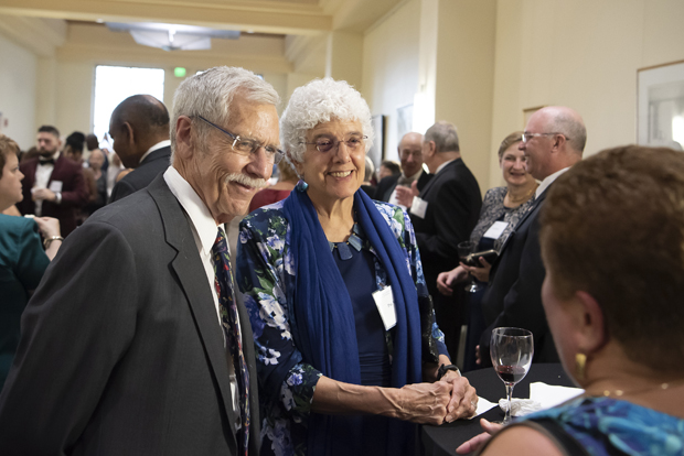 Alan McLaine and Pat McLaine, DrPH, RN, assistant professor and director of community/public health nursing master's specialty with the University of Maryland School of Nursing, enjoy their time at the 130th anniversary celebration. (Photo by Larry Canner)