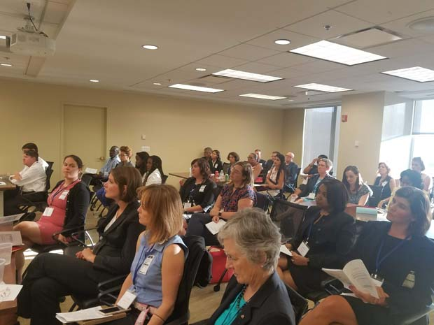 A group of Academy Fellows and mentors listen to the PBRC Academy orientation presentation. (Photo courtesy of Pro Bono Resource Center)