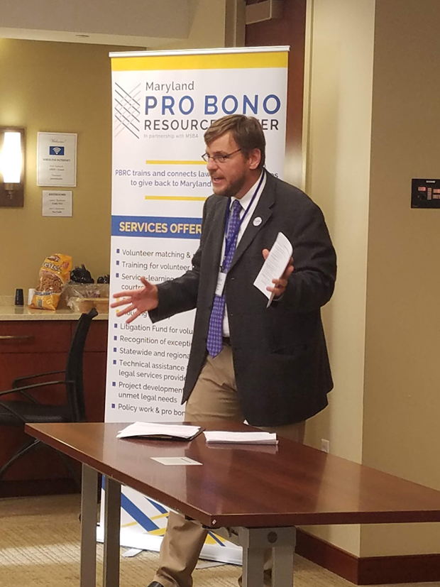 Dave Pantzer, PBRC's director of education, outreach, and technology, explains the vision for the Professional Skills Academy during the kickoff event. (Photo courtesy of Pro Bono Resource Center)