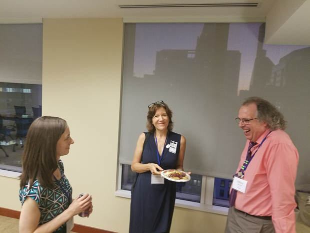 From left, 9. Bar Association of Baltimore City Young Lawyers' Division officer representative Ellyn Riedl; Academy mentor, faculty and sponsor Jane Santoni; and Academy mentor Chris Flohr share a humorous moment. (Photo courtesy of Pro Bono Resource Center)