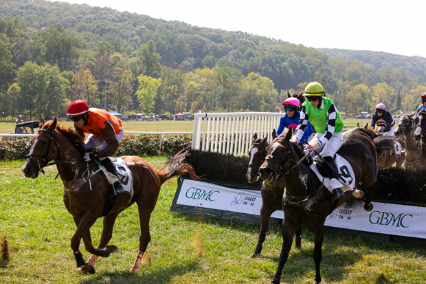 Horses navigate the steeplechase course at Shawan Downs during the 19th annual Legacy Chase. (Photo courtesy of GBMC)