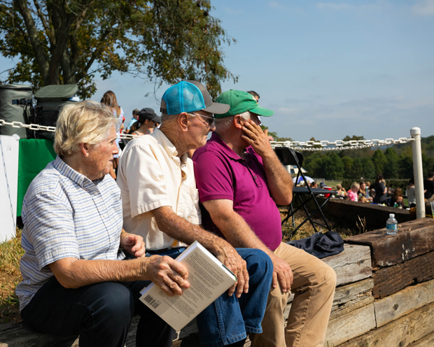 """From left, Sherry Keys, William """"Bill"""" Rudolph and J.B. Secor watch the steeplechase races. (Photo courtesy of GBMC)"""