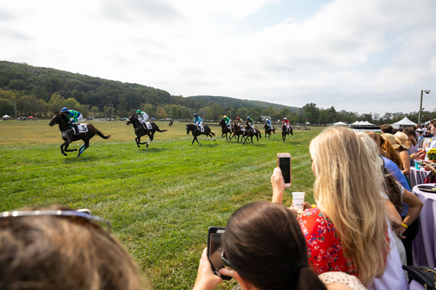 Jockeys guide their horses down the straightaway at Shawan Downs during the 19th annual Legacy Chase. (Photo courtesy of GBMC)