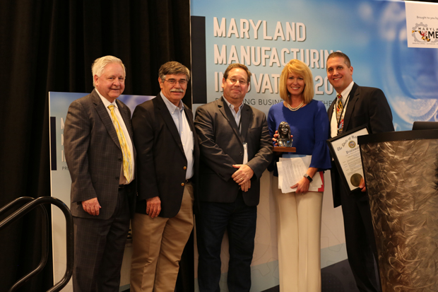 Photo Caption: (Left to right): Mike Galiazzo, President, Regional Manufacturing Institute (RMI) of Maryland; Dr. Sean Wise, Ph.D., Owner, RePliForm; Michael Raphael, President, Direct Dimensions; Maryland Commerce Secretary Kelly M. Schulz; and Michael Kelleher, Executive Director, MD MEP at the inaugural Maryland Manufacturing Innovation Conference. (Photo courtesy of MD MEP)