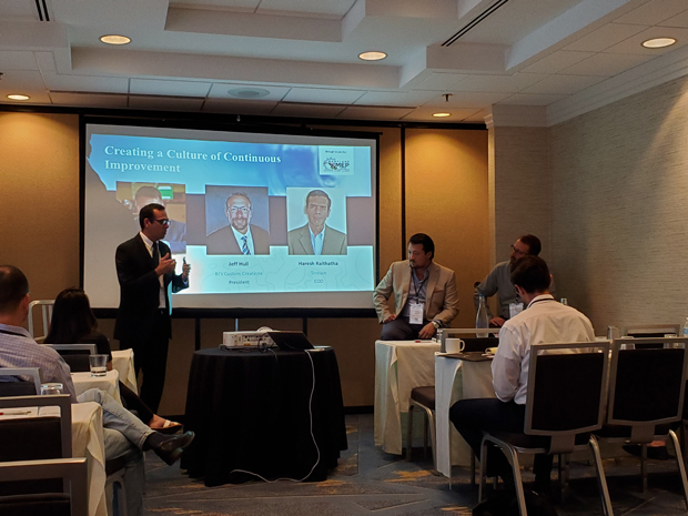 From left, Speakers Haresh Raithatha, chief operations officer with The Strouse Corporation; Douglas Hamilton III, CEO of Hamilton Associates Inc.; and Jeff Hull, President, BJ's Custom Creations, answer questions on a panel about work culture improvement. (Photo courtesy of MD MEP)