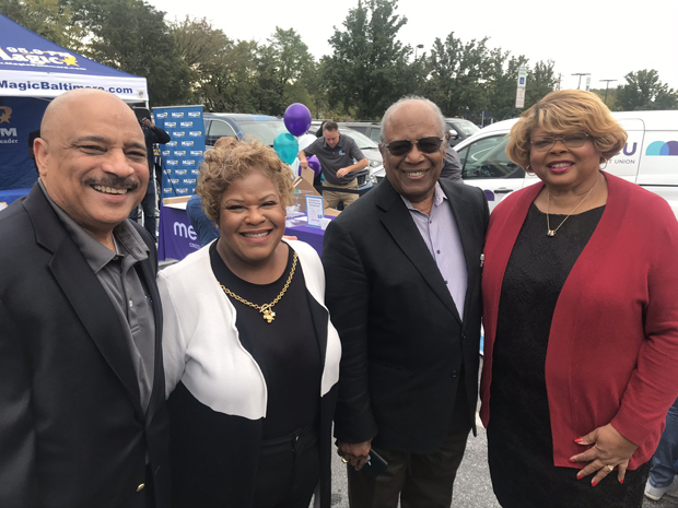 From left, MECU Credit Union President and CEO John Hamilton; Mary Clay, senior outreach coordinator from the office of Baltimore County Executive John Olszewski Jr.; Herman Williams Jr., MECU chairman of the board; and G. Louise Green,  treasurer and a member of the board of directors, attended the grand opening of MECU's Randallstown branch. (Photo courtesy of MECU Credit Union)