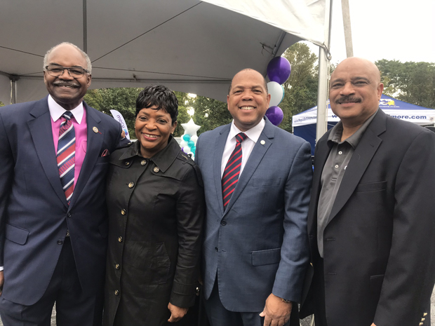 From left, Del. Benjamin Brooks, D-Baltimore County; Maryland House Speaker Adrienne Jones; Baltimore County Councilman Julian Jones Jr.; and MECU Credit Union President and CEO John Hamilton, were on hand for the grand opening of MECU's Randallstown branch. (Photo courtesy of MECU Credit Union)