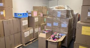 Boxes of contraband tobacco products recovered in a bust crowd a storage room in the Louis L. Goldstein Treasury Building in Annapolis on Wednesday. (Eric Myers/Capital News Service)