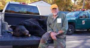 Carl Lee of Swanton, Maryland, harvested a 539-pound bear in Garrett County — the largest bear taken in Maryland's annual black bear hunt — on Oct. 21, 2019. (Courtesy of Maryland Department of Natural Resources.)
