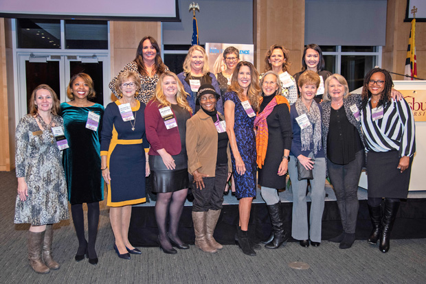 Past Top 100 Women and Leading Women honorees gather at the Path to Excellence networking series event at Salisbury University. (Photo by Jeanne Anderton)