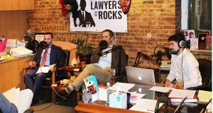 "Attorneys Jeremy Eldridge, left, and Kurt Nachtman talk during their podcast ""Lawyers on the Rocks"" last Tuesday as the producer Gideon Breidegam watches.  (The Daily Record / Louiss Krauss)"