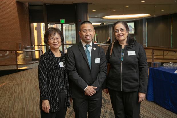From left, Sue Song, former member of the Howard County General Hospital Board of Trustees; state Sen. Clarence Lam, D- D-Baltimore and Howard; and Saba Salman Sheikh, M.D., of Columbia Medical Practice, were on hand for the second annual State of Health Care in Howard County presentation. (Photo courtesy of Howard County General Hospital)