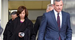 "Former Baltimore mayor Catherine Pugh, left, leaves U.S. District Court in Baltimore with her attorney Steven Silverman on Thursday, Nov. 21, 2019. An 11-count federal indictment accuses Pugh of arranging fraudulent sales of her ""Healthy Holly"" books to schools, libraries and a medical system to enrich herself, promote her political career and fund her run for mayor. (AP Photo/Steve Ruark)"