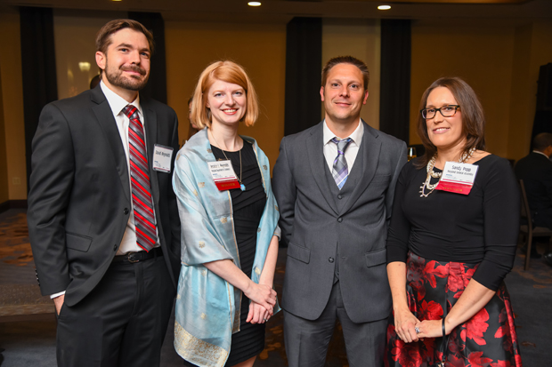 From left, David Reynolds; 2019 Leading Women winner Jessica L. Reynolds, senior director in the Office of International Investment and Trade with the Maryland Department of Commerce, Kevin Plessner; and 2019 Leading Women winner Sandy Popp, assistant to the chairman of the Senate Judicial Proceedings Committee in the Maryland General Assembly, attended the Leading Women event. (Photo by Maximilian Franz)