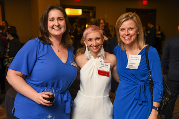 2019 Leading Women winner Emily Shank, a principal with law firm Bellator Law Inc., center, joins Heather Cobun, left, legal affairs reporter with The Daily Record, and former Leading Women winner Cara Frieman, senior assistant state's attorney with the Carroll County State's Attorney's Office, for a photo during the Leading Women event. (Photo by Maximilian Franz)